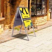 Social distancing pavement signs